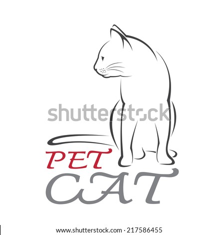 Vector image of an cat on white background. - stock vector