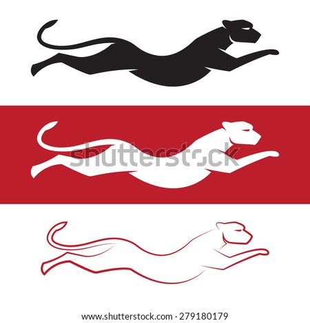 Vector image of an cheetah on white background and red background - stock vector