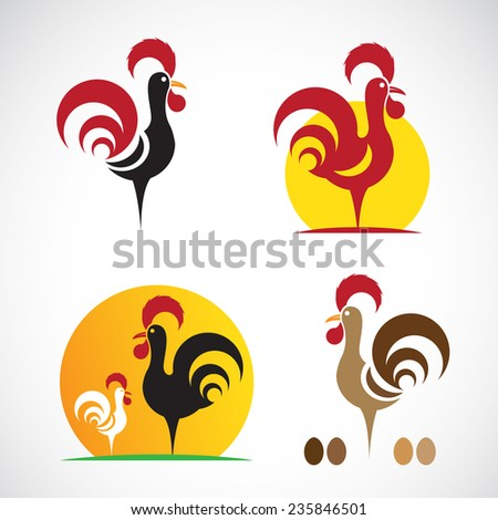 Vector image of an chicken design on white background - stock vector