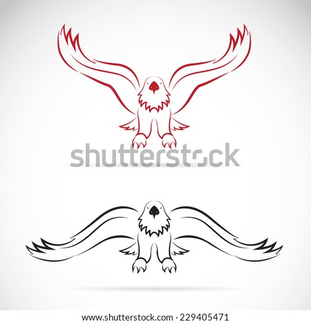 Vector image of an eagle on white background - stock vector