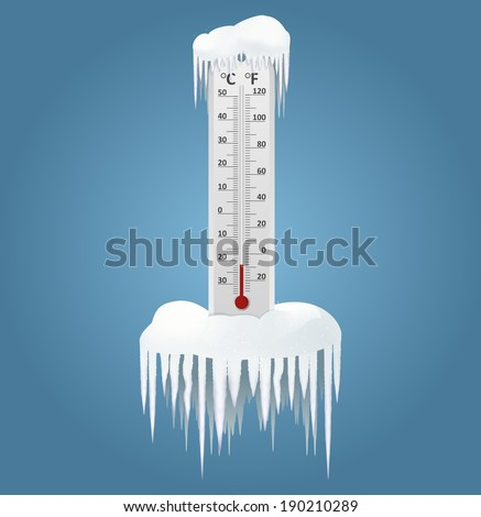 Vector image of an Frozen thermometer at winter - stock vector
