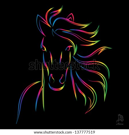 Vector image of an horse on black background - stock vector