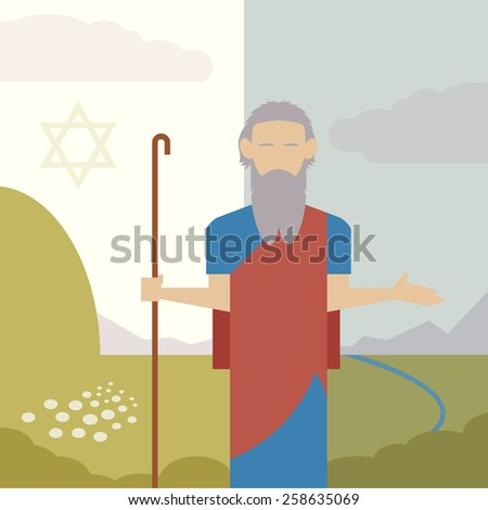 Vector image of an icon of Moses - stock vector