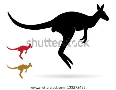 Vector image of an kangaroo on a white background - stock vector