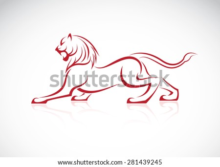 Vector image of an lion design on white background - stock vector