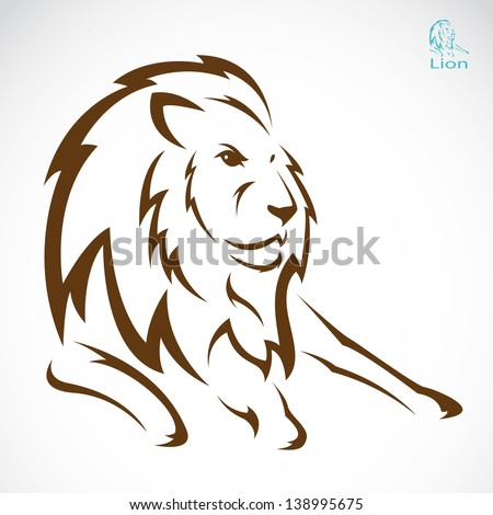 Vector image of an lion on white background - stock vector