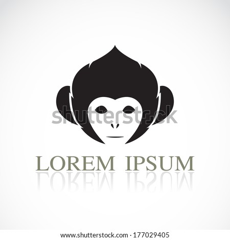 Vector image of an monkey head on white background - stock vector