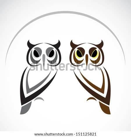 Vector image of an owl on white background - stock vector