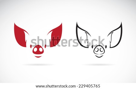 Vector image of an pig head on white background - stock vector