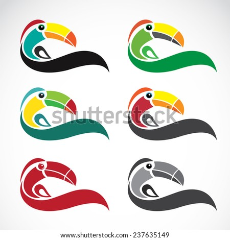 Vector image of an toucan design on white background - stock vector