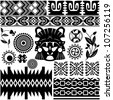 Vector image of ancient American pattern on white - stock