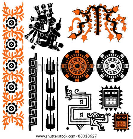 Vector image of ancient american patterns on white