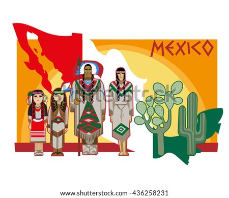 Vector image of ancient and modern elements Mexican culture - stock vector
