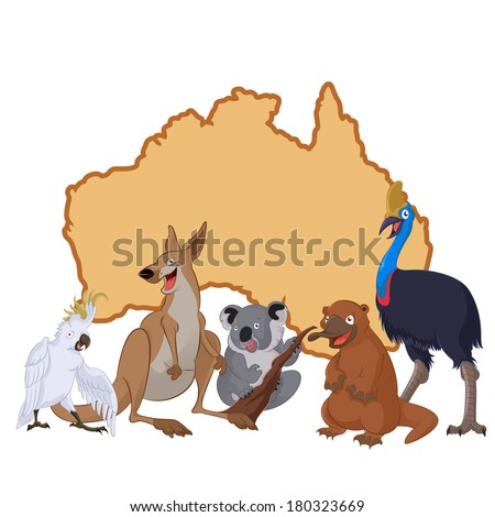 Vector image of Australia with cartoon animals - stock vector