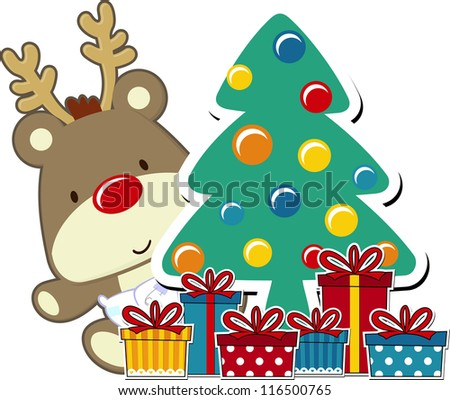 vector image of baby rudolph and christmas gift boxes - stock vector