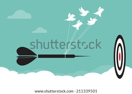 Vector image of birds with darts target aim in the sky, Represents the unity - stock vector