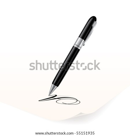 Vector image of black pen writing on paper - stock vector