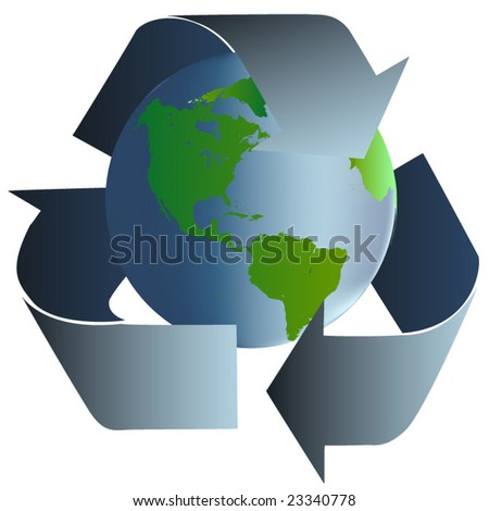 Vector image of blue green earth surrounded with recycle arrows