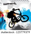 Vector image of BMX cyclist - stock vector