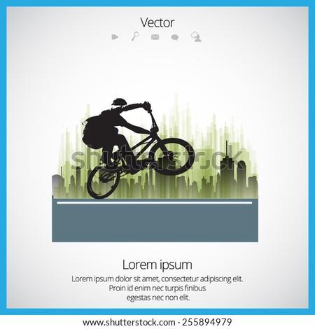 Vector image of BMX cyclist  - stock vector