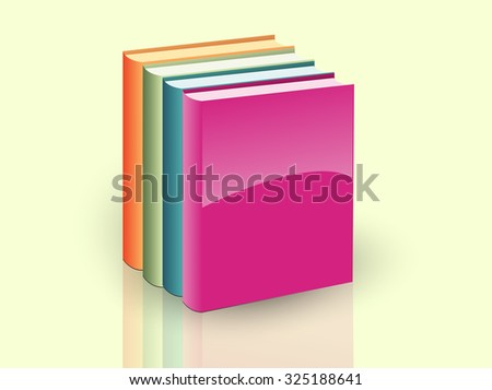 vector image of books icon pink, orange green blue - stock vector