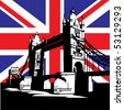 vector image of British and london symbols. Famous London Bridge on the background of the British flag - stock vector