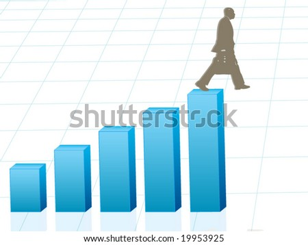 Vector image of business man walking off edge - concept for banking crisis, unexpected losses, walking off a financial cliff - stock vector