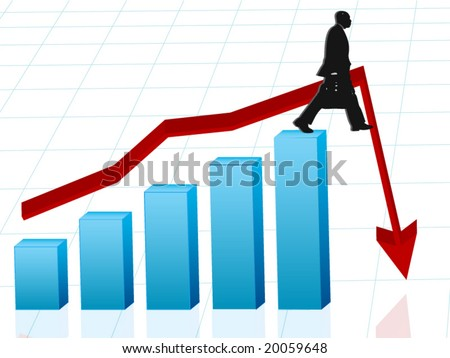 Vector image of business man walking off edge with red arrow - concept for banking crisis, unexpected losses, walking off a financial cliff - stock vector