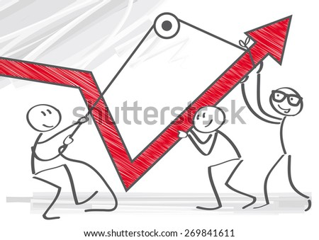 Vector Image of  businessmen pulling graph - stock vector