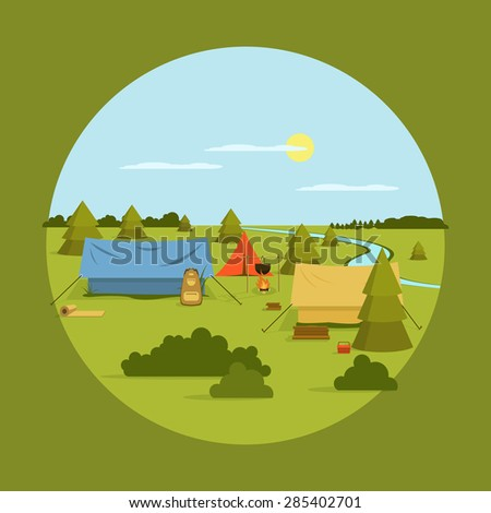 Vector image of camping on vocation - stock vector