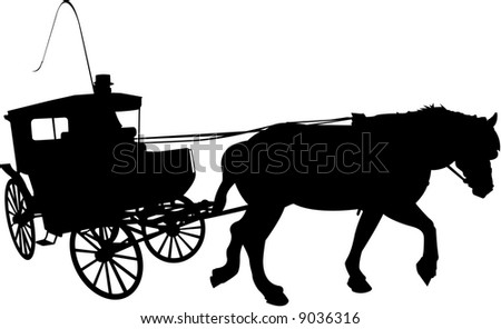 vector image of carriage with coachman - stock vector