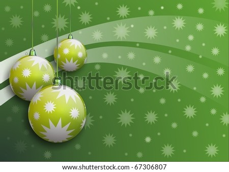 vector image of christmas balls with stars on green background