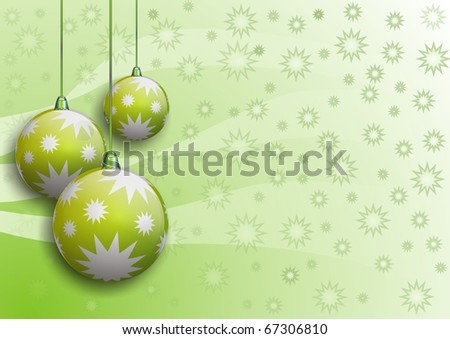 vector image of christmas balls with stars on green-white background - stock vector