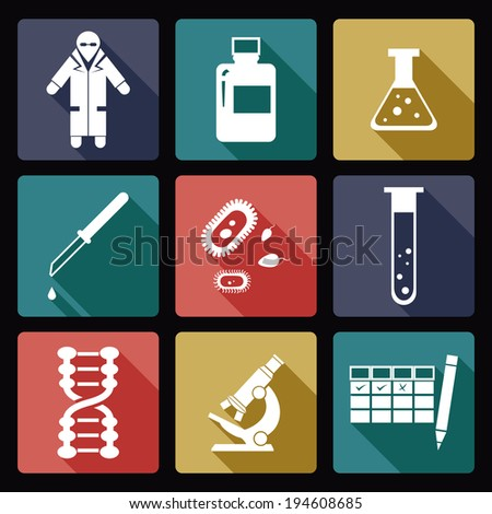 Vector image of collection of biology icons - stock vector