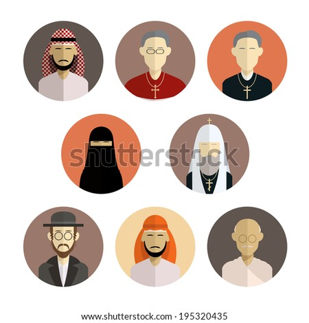 Vector image of collection of flat icons of religion - stock vector