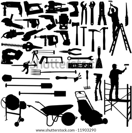 vector image of collection tools and workers - stock vector