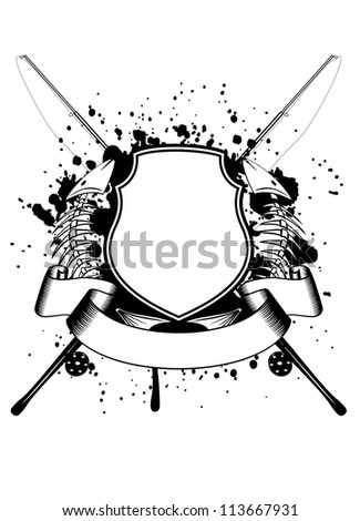 Vector image of crossed fishing tackles board and skeleton of fishes - stock vector