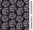 Vector image of dice. Seamless black pattern with drawn bricks - stock vector