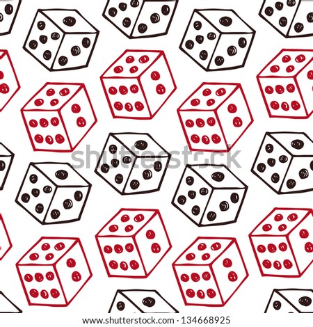 Vector image of dice. Seamless pattern with bricks - stock vector