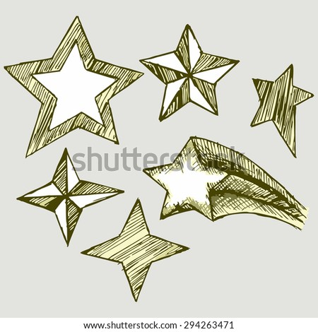 Vector image of different types of stars - stock vector