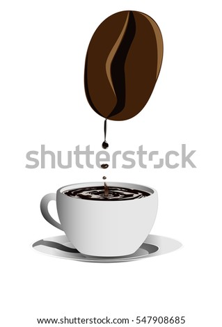 vector image of drops of coffee dripping from a big coffee bean to a big cup by creating waves into the cup coffee vertical
