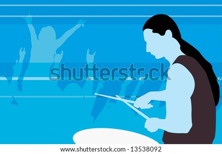 vector image of drummer profile - stock vector