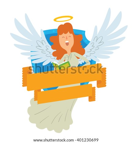 Vector image of emblem in the form of a blue shield and yellow banner. Emblem with cartoon female angel with red hair, with book. Angel in a white chasuble, with gold halo over head. Emblem with angel - stock vector