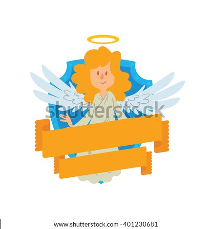 Vector image of emblem in the form of a blue shield and yellow banner. Emblem with cartoon little female angel with blond hair. Angel in white chasuble, with gold halo over head. Emblem with angel. - stock vector