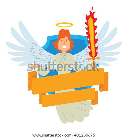 Vector image of emblem in the form of a blue shield and yellow banner. Emblem with cartoon male angel with red hair, with flaming sword. Angel in a white chasuble, with gold halo over head. Michael.  - stock vector