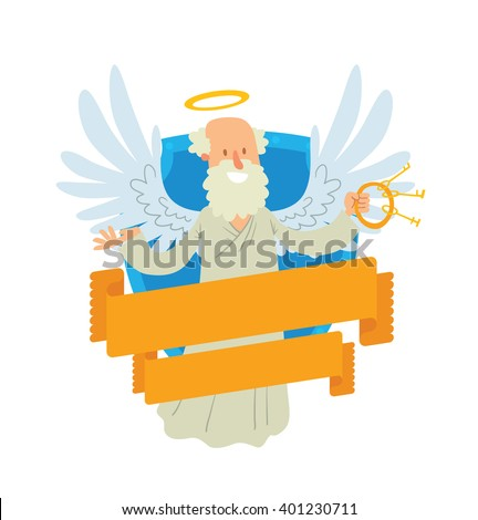 Vector image of emblem in the form of a blue shield and yellow banner. Emblem with cartoon old male angel with gray hair and beard, with keys. Angel in white chasuble, with gold halo over head. Peter. - stock vector