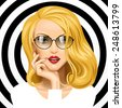 Vector image of face of the beautiful blonde girl with glasses on black and white circles background. Vector illustration - stock vector