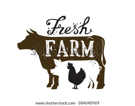 vector image of Farm Animal and text icon