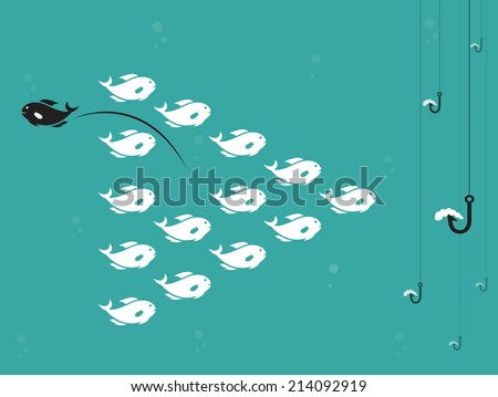 Vector image of fish and hook and bait. Survive concept. - stock vector