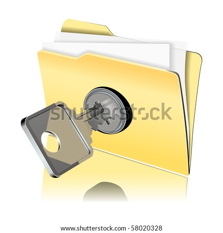 vector image of folder with paper sheet locked with key - stock vector